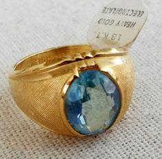Vintage-Vargas-18kt-HGE-Aquamarine-Glass-Gold-Tone-Mens-Ring-Size-10-1-14-Blue