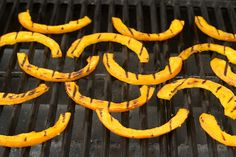 Sweet and Sour Grilled Pumpkin Recipe (Yummy~ I used acorn squash and a touch of chili oilin the dressing with mint.)