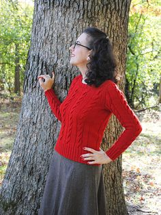 Finished 1947 Campus Classics Cable Pullover | By Gum, By Golly #vintage #knitting #1940s