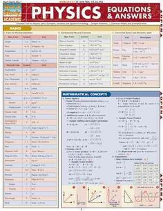 Physics Equations & Answers Quick Study Reference Guide