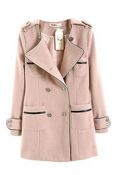 { Round Neck Double Breasted Pink Coat }