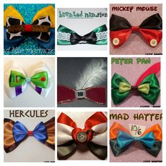 DIY Disney Character Inspired Bows: Woody, Haunted Mansion, Mickey, Buzz Lightyear, Captain Hook, Peter Pan, Hercules, White Rabbit, and Mad Hatter Disney Hair Bows, Disney Headbands, Disney Outfits, Disney Clothes, Disney Diy, Disney Crafts, Disney 2017, Crochet Fabric, Mickey Ears