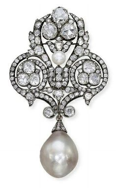 AN EXCEPTIONAL ANTIQUE NATURAL PEARL AND DIAMOND BROOCH, The trefoil openwork top set with rose and old-cut diamonds, suspending a detachable drop-shaped pearl weighing 144.06 grains, mounted in silver and gold, circa 1880, 8.0 cm, Accompanied by report no. 57002 dated 5 August 2010 from the SSEF Swiss Gemmological Institute stating that the pearl is a natural saltwater pearl