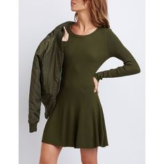 Charlotte Russe Ribbed Scoop Neck Skater Dress ($11) ❤ liked on Polyvore featuring dresses, olive, ribbed knit dress, olive green dress, skater dress, rib knit dress and long-sleeve fit and flare dresses