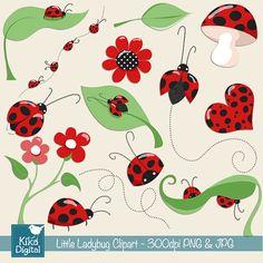Little Ladybug Digital Clipart - Scrapbooking , card design, invitations, stickers, paper crafts, web design - INSTANT DOWNLOAD