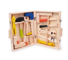 """Werkzeugkoffer """"Lino"""" aus Holz, mit 12 Werkzeugen vom Hammer bis zur Bohrmaschine, für die motorischen Erstversuche kleiner Handwerker ab 3 Jahren: Amazon.de: Spielzeug"""