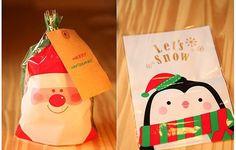 Christmas Santa or Penguin cello bag  set of 10 by MadAboutPink