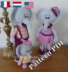 Pattern, Patron, Tutoriel d'amigurumi Famille d'éléphants au crochet