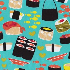 Japanese Sushi Fish Rice Food Design Quilt Fabric - Find a Fabric