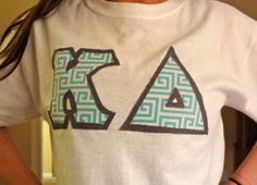 Custom Greek Letter Shirt Teal/White Fret by PrettyyLittleLetters, $20.00