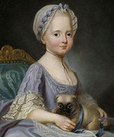 Madame Élisabeth, Princess of France as a child and her pug (sister-in-law of Marie Antoinette who was imprisoned with her during the revolution)