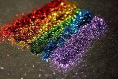 glitter, rainbow