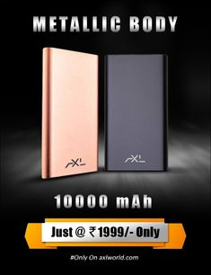 Power Bank, having 10000 mAh capacity, metallic body cover and the life cycle of 500 times.
