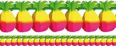 Guirlande de Papier Ananas - 4 m, Décorations Hawaïennes