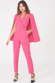 Signature Cape Blazer Jumpsuit in Bright Pink - 10 UK Source by iamphenomenalsu Dress Classy Work Outfits, Chic Outfits, Fashion Outfits, Suit Fashion, Pink Fashion, Rosa Style, Hot Pink Blazers, Bright Pink Dresses, Mode Rose