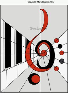Abstract Keyboard and Clefs