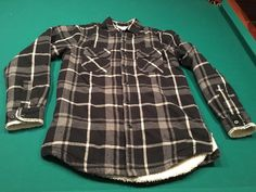 Men's CLUB ROOM Flannel Fleece-Lined Button Down Plaid Shirt Jacket - Size S…