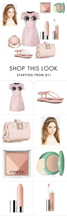"""""""👁 🔎 My Love"""" by jasmine-1214 ❤ liked on Polyvore featuring RED Valentino, Tory Burch, Roger Vivier, France Luxe, Clinique, Lavish by TJM, love, Pink and lovefashion"""