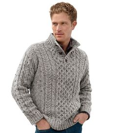 Heritage Sweater, Irish Fisherman's Button-Mock: Henleys and Zip-Necks | Free Shipping at L.L.Bean