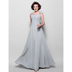 A-line Straps Floor-length Chiffon Mother of the Bride Dress (967222) – USD $ 149.99