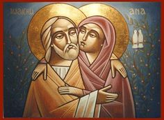 Coptic icon of Saints Anne and Joachim. Jesus' grandparents! Their Feast Day is today (July 26)
