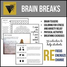 Brain Breaks by The Rhetor's Toolbox Classroom Behavior, Classroom Management, Ap Language And Composition, Creative Writing Classes, Habits Of Mind, 21st Century Skills, High School English, Brain Breaks, Anxiety Relief