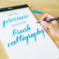 Applying Pressure in Brush Calligraphy with Sharisse! Applying pressure in Brush Calligraphy is crucial! Check out our Guest Designer Sharisse tips for pressure. Don't miss her short video and practice drills! Brush Pen Calligraphy, Calligraphy Tutorial, Calligraphy Doodles, Hand Lettering Tutorial, How To Write Calligraphy, Calligraphy Letters, Typography Letters, Brush Lettering, Modern Calligraphy