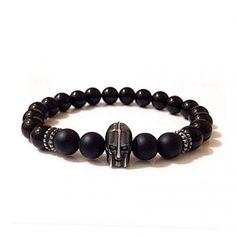 925kt Black Silver Leonidas and Brackets & Matt and Bright Onyx Charm Bracelet