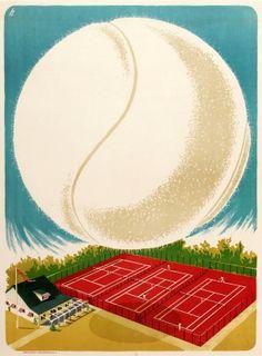 Tennis Court Einer Ulrich, 1940s - original vintage poster by Einer Ulrich Reklamebureau listed on AntikBar.co.uk