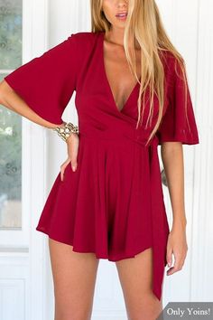Wine Red Summer Romper or top with plunging v-neck, kimono sleeves, wrap front, self-tie belt and ruffled hem.