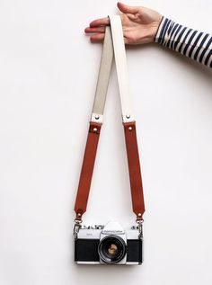 Genuine Brown & White Leather Camera Strap by DovileBDesign