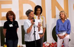 More Pics of Michelle Obama Leather Lace-ups (L-R) Lynn Brantley, Capital Area Food Bank President and CEO, Dr. Jill Biden, wife of Vice President Joe Biden, first lady Michelle Obama, and Vicki Escarra, President and Chief Executive Officer of Feeding America, join congressional spouses and volunteers at the Capitol Area Food Bank for Feeding America on April 29, 2009 in Washington , D.C. (39 of 64) - Shoes Lookbook - StyleBistro