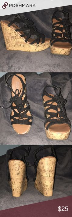 Wedges Cork wedges. Lace up on top with strap on back Mossimo Supply Co Shoes Wedges