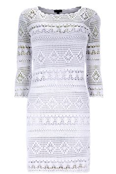 Crochetemoda: Crochet - Vestido Branco Curto II
