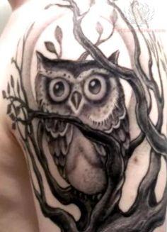 Grey ink Owl On Tree Tattoo on Half Sleeve