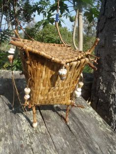 Handwoven, Hawaiian Coconut Frond Luck Magic, with Lama Wood Frame, Puka Shells and Blue Native American Beads.