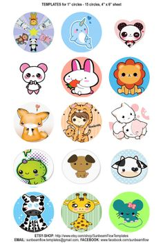 151 Digital Bottle Cap kawaii animal pets by Beautifullbows, $1.25