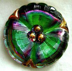 Czech Glass Pansy Button  LG Emerald Green & by ButtonOdyssey, $7.99