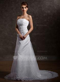 Wedding Dresses - $194.69 - A-Line/Princess Strapless Chapel Train Organza Satin Wedding Dress With Ruffle Lace Beading (002012740) http://jjshouse.com/A-Line-Princess-Strapless-Chapel-Train-Organza-Satin-Wedding-Dress-With-Ruffle-Lace-Beading-002012740-g12740