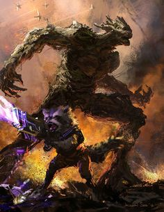 Groot & Rocket Concept Art For Guardians of the Galaxy