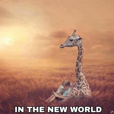 Chilling with a giraffe. Life In Paradise, Paradise On Earth, Jehovah Paradise, See Yourself, Family Worship Night, Photoshopped Animals, Paradise Pictures, Giraffe Pictures, Jw Humor