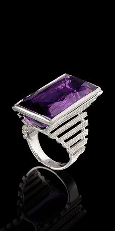 Master Exclusive Jewellery, amethyst and diamonds ring from Solo collection
