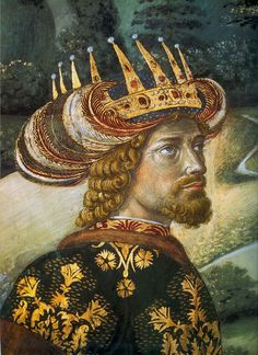 This portrait of John VII Palaeologus a Byzantine emperor that ruled 1421 – This depiticion of of John VII Palaeologus portrays him as one of the Three Wise Men, by Benozzo Gozzoli. Renaissance Kunst, Renaissance Paintings, Italian Renaissance, Renaissance Artists, Fresco, Medieval, Three Wise Men, Byzantine Art, Italian Art