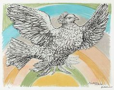 Pablo Picasso, Colombe Volant (Flying Dove), 1952, a color lithograph at Masterworks Fine Art Gallery.