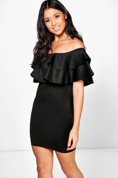 Lenka Off The Shoulder Frill Bodycon Dress