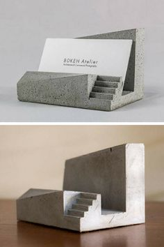 Modern, architectural concrete business card holder. Perfect office desk accessory for men. #ad #concrete #businesscardholder #officedecor #deskaccessory #homedecor #giftidea #cement #architectural #modern