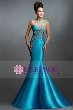 2015 Formal Dresses Bateau Trumpet Taffeta Embellished With Applique&Beads