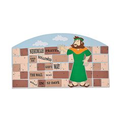 Nehemiah rebuilds the wall. This is a great concept. If you can't get the kit, just cut blocks our of construction paper, write the verse on it and if you are inclined to- create your own Nehemiah. Easy peasy...