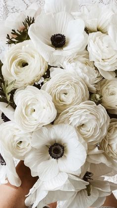 White Anemone Flower, Anemone Bouquet, White Flowers, White Flower Background, Anemones, Anemone Wedding, Flower Bouquet Wedding, Floral Wedding, Flowers For Sale