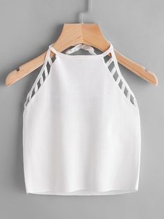 Shop Ladder Cutout Halter Lace-Up Top online. SheIn offers Ladder Cutout Halter Lace-Up Top & more to fit your fashionable needs. Crop Top Outfits, Cute Casual Outfits, Cute Summer Outfits, Stylish Outfits, Stylish Clothes, Teen Fashion Outfits, Outfits For Teens, Girl Fashion, Girl Outfits